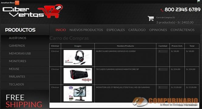 Sistema de Ventas Virtual con Carrito de Compras