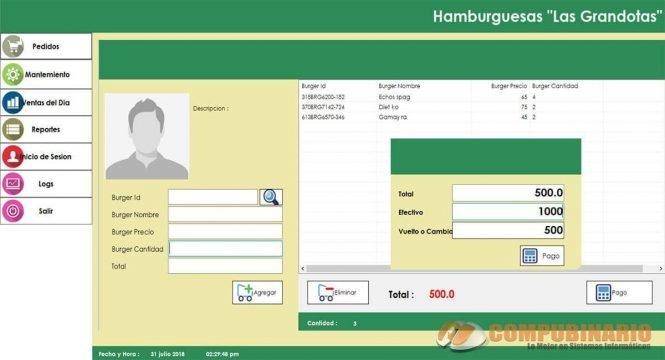 Sistema de Pedidos y Ventas de Hamburguesas