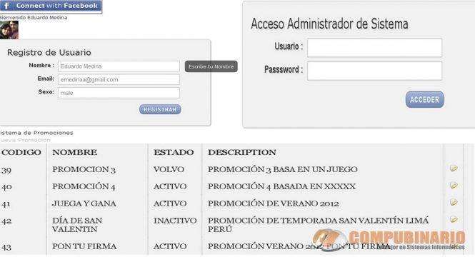 sistema de promociones web con facebook