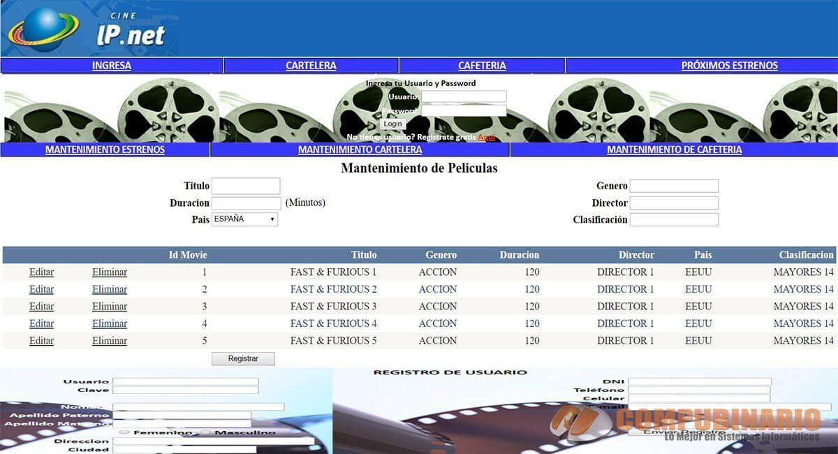 Sistema Web de Cartelera de Cines