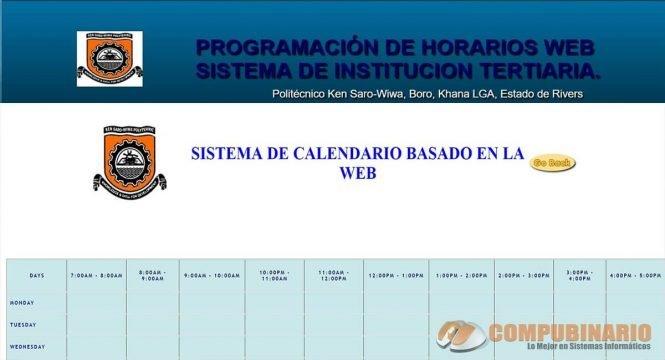 Sistema de Gestion de Horarios Calendario