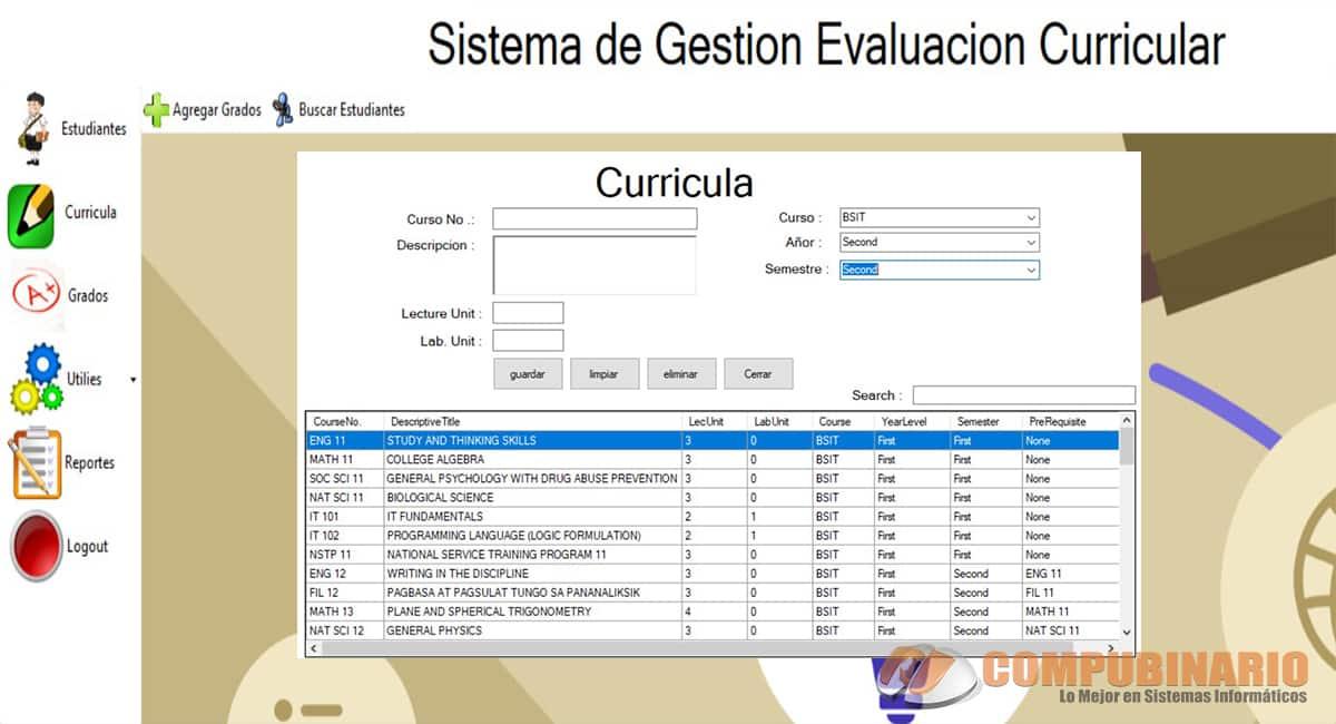 Sistema de Gestion de Evaluacion Curricular