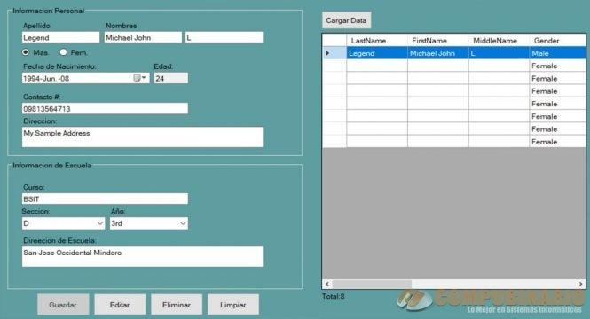 Sistema Basico de Perfiles de Mantenimiento CRUD