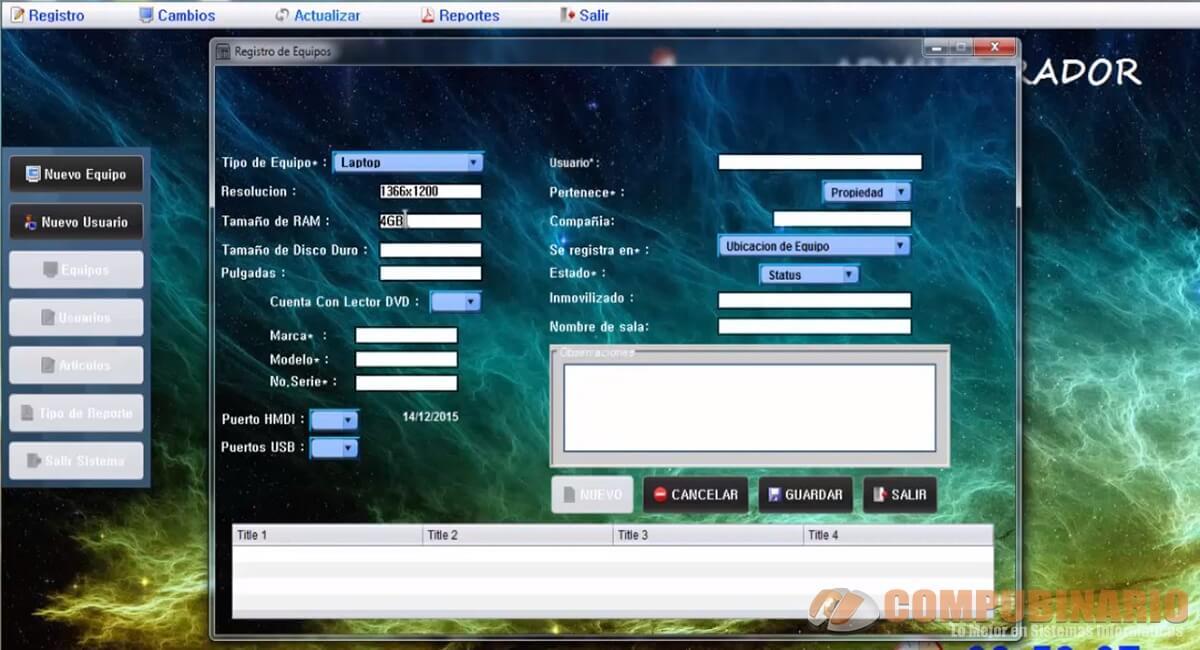 Sistema de Control de Inventario de Equipos de Computo