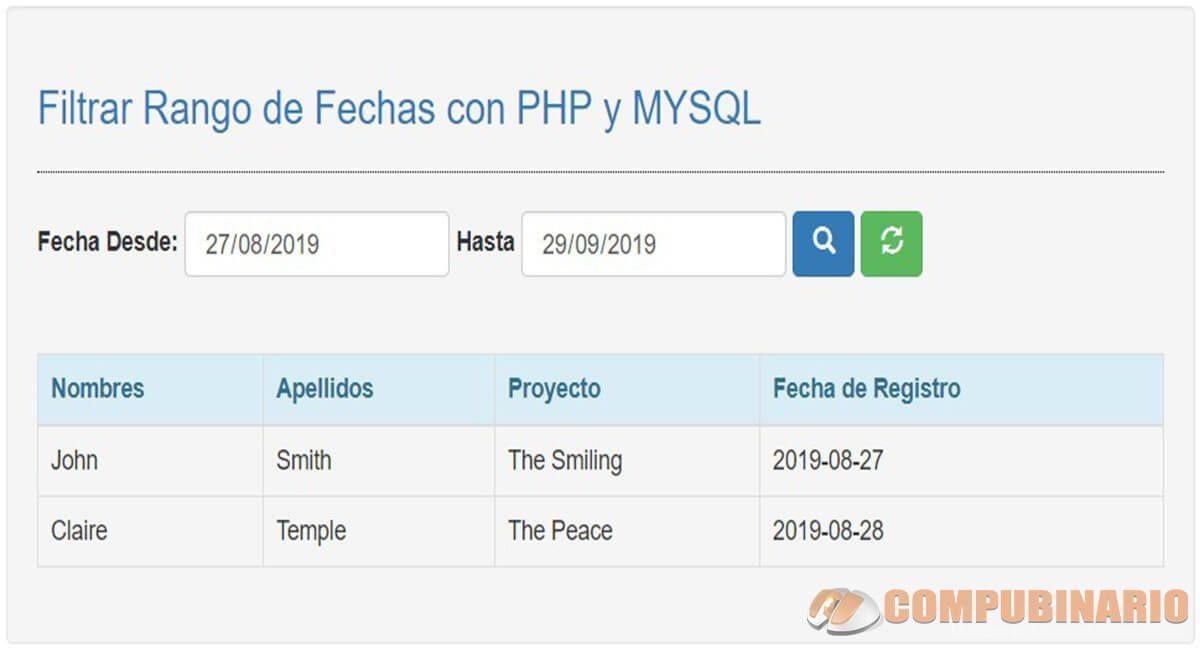 Filtrar Rango de Fechas con PHP y MYSQL
