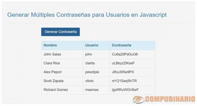 Generar Múltiples Contraseñas para Usuarios en Javascript