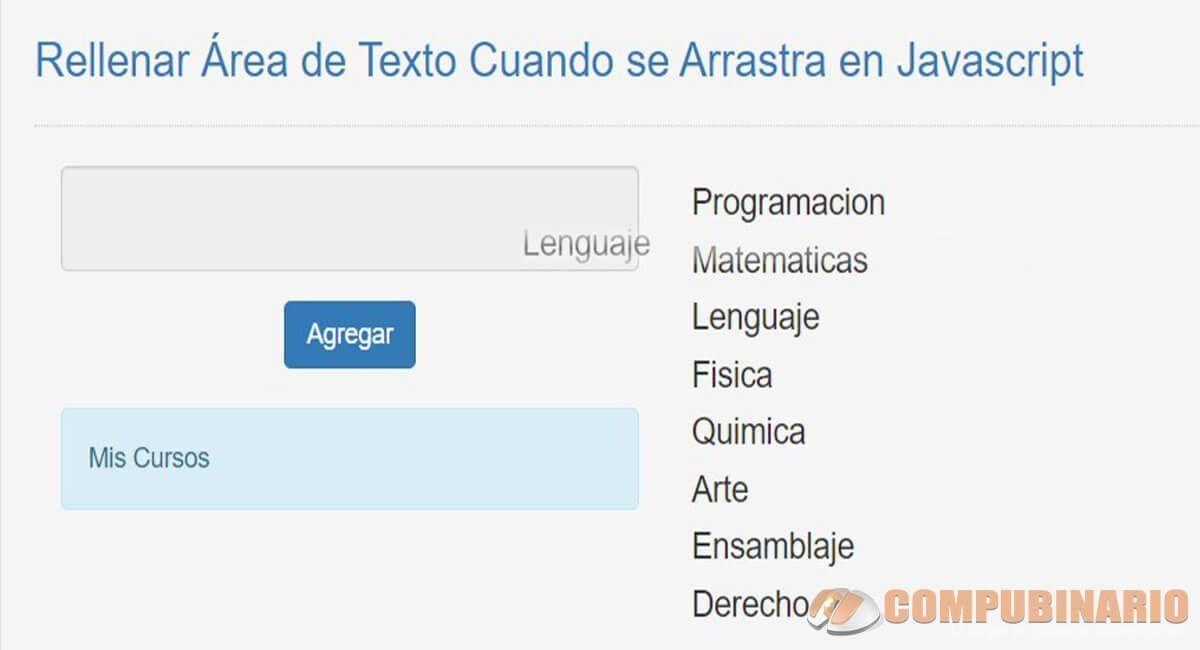Rellenar Área de Texto Cuando se Arrastra en Javascript