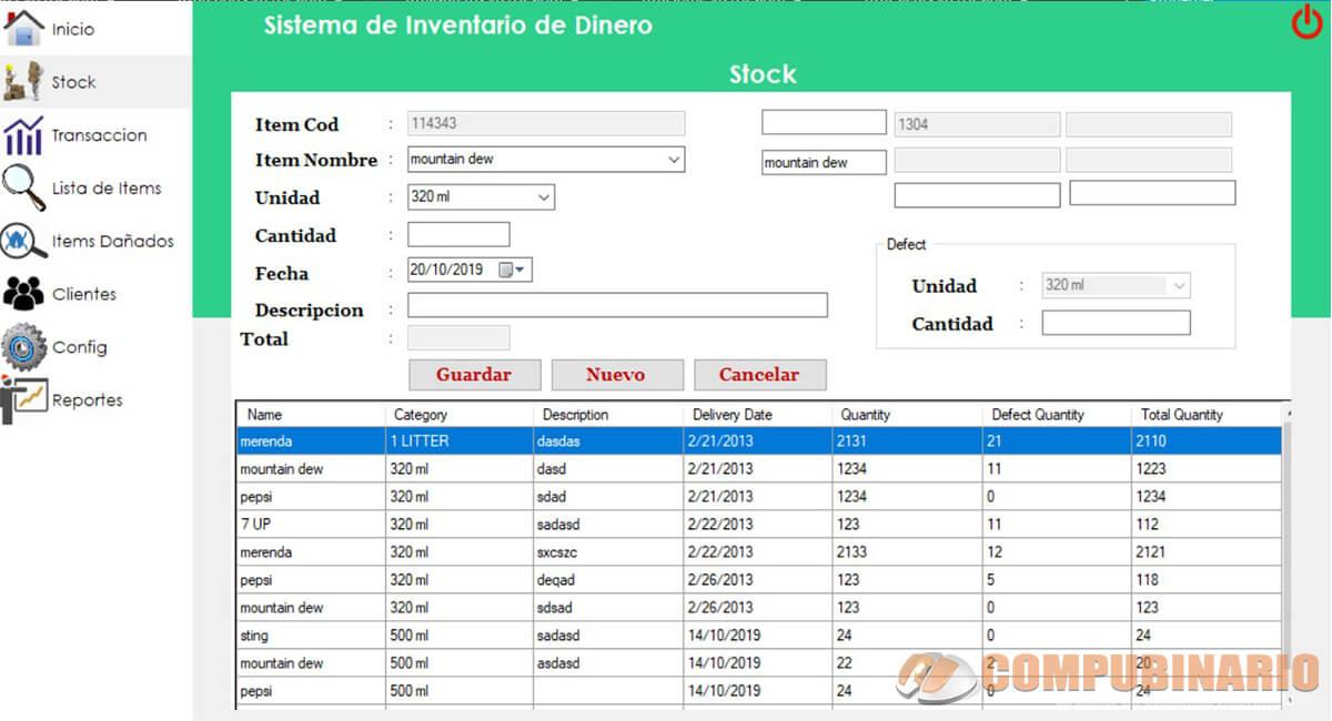 Sistema de Inventario de Botellas Integrado con Frameworks Bunifu