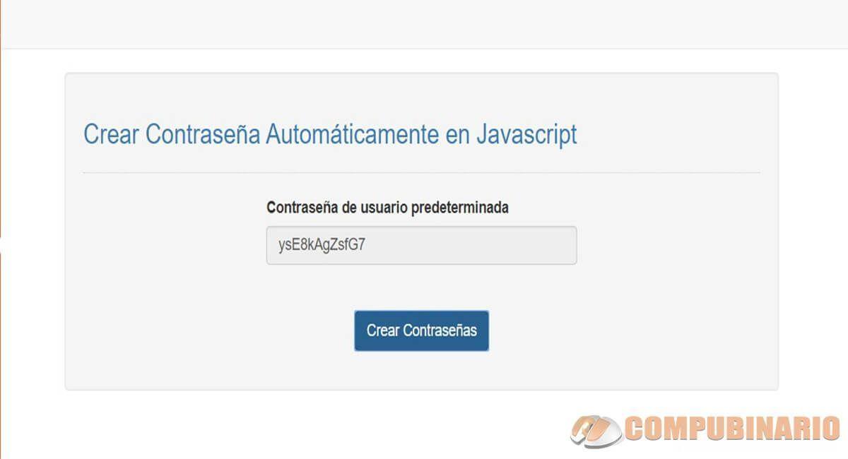 Crear Contraseña Automáticamente en Javascript
