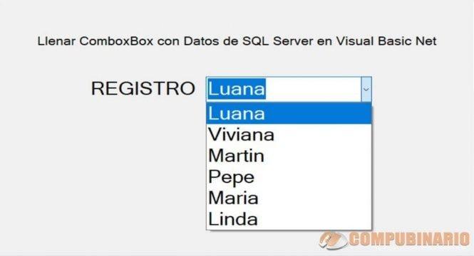 Llenar ComboxBox con Datos de SQL Server en Visual Basic Net