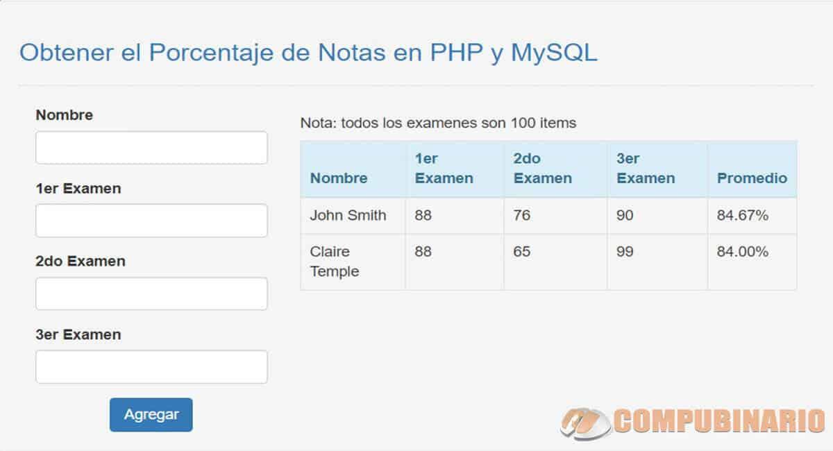 Obtener el Porcentaje de Notas en PHP y MySQL