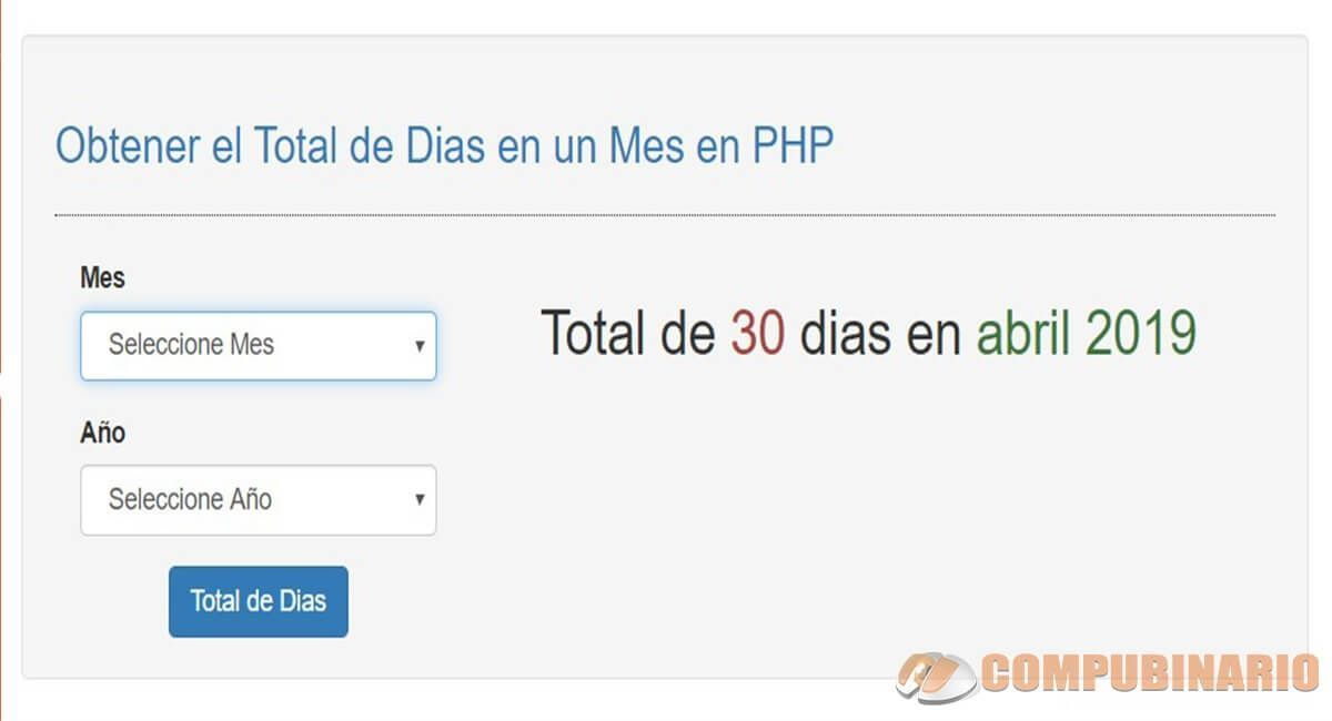 Obtener el Total de Dias en un Mes en PHP