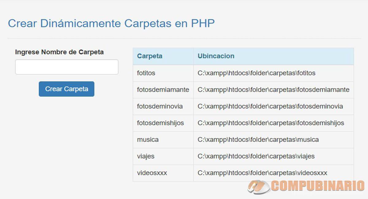 Crear Dinámicamente Carpetas en PHP