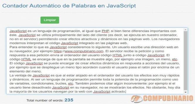 Contador Automatico de Palabras en Javascript