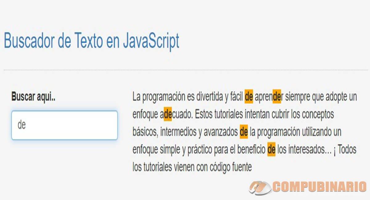 Buscador de Texto en JavaScript