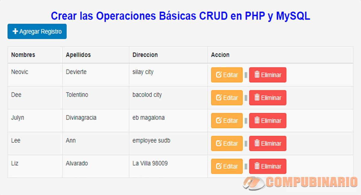 Crear las Operaciones Básicas CRUD en PHP y MySQL
