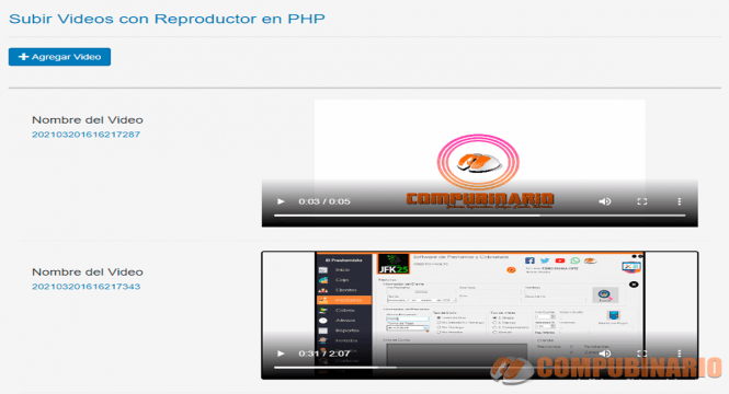 Subir Videos con Reproductor en PHP